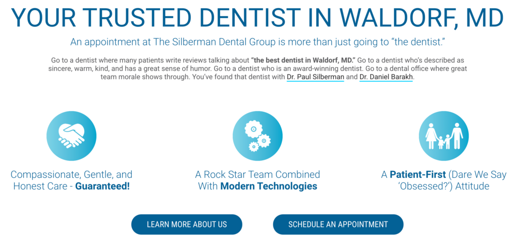A screenshot of Dr. Silberman's website displaying a Call to Action button