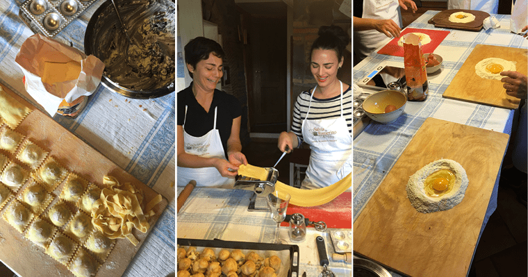 At a cooking class in Florence, Jenna learns how to prepare an authentic ravioli recipe.