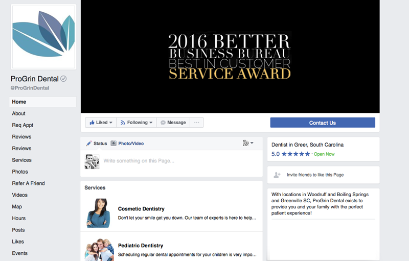 Make use of the Facebook services tab in your dental marketing.