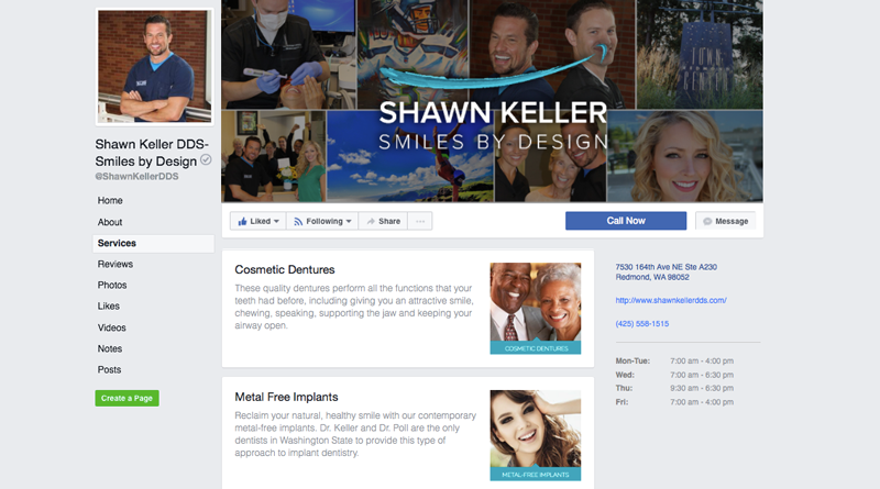 Use the Facebook services tab to highlight your top services.