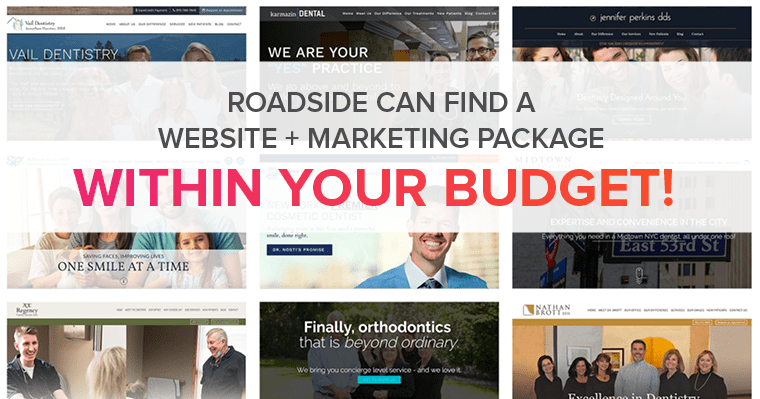 A collage of Roadside Dental Marketing's dental websites with text describing your can find affordable website marketing