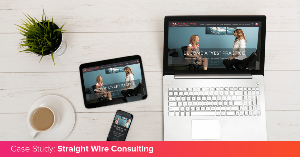Straight Wire Consulting's unique website on multiple devices, introducing their case study