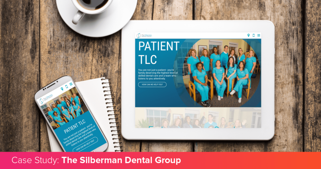The Silberman Dental Group's unique website on multiple devices, introducing their case study