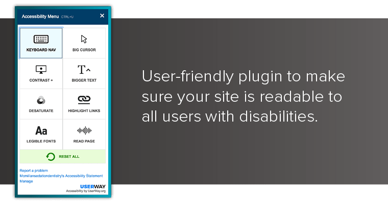 Preview of the user accessibility plugin we offer as a part of our ADA Compliance package
