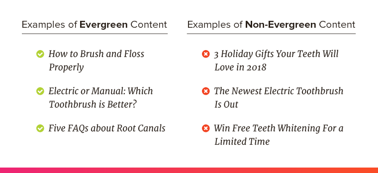 Examples of topics that's evergreen content vs. content that's not evergreen