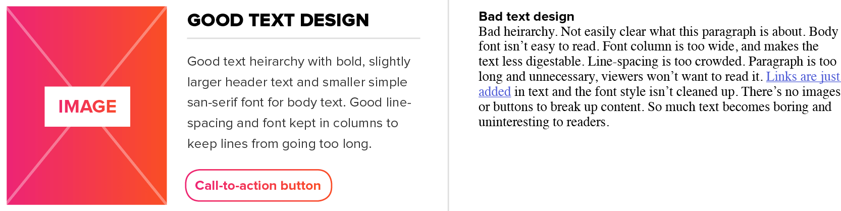 example of good tex design and bad text design