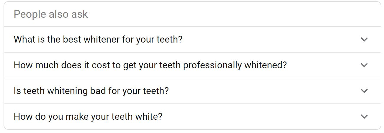 "Examples of ""People also ask"" questions in Google search results"