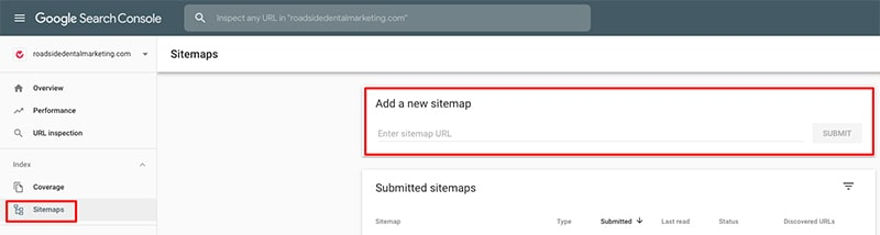 Screenshot showing the submission field inside Google Search Console for sitemaps