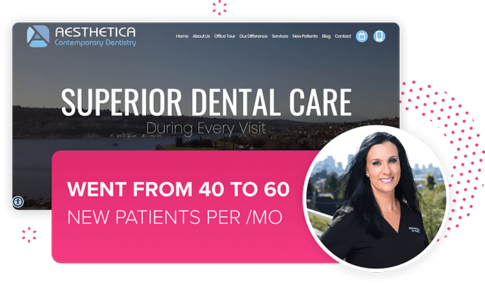 Graphic of Aesthetica Contemporary Dentistry's dental website design. This practice went from getting 40 patients to 60 new patients a month