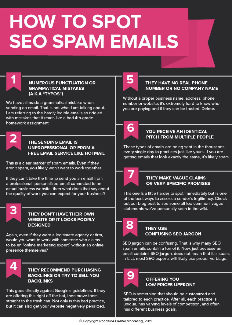 SEO Spam Emails Red Flags Infographic