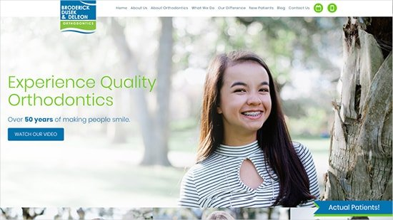 Preview of Broderick, Dusek & DeLeon Orthodontics home page created by Roadside Dental Marketing