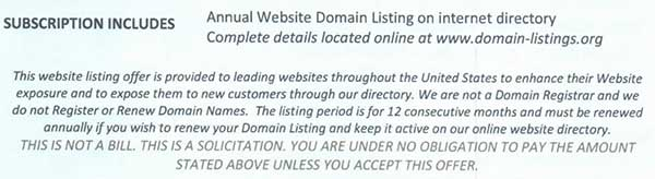 Domain Scam Email fineprint