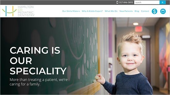 A popular example in our portfolio: Hamilton Co. Pediatric Dentistry website design.