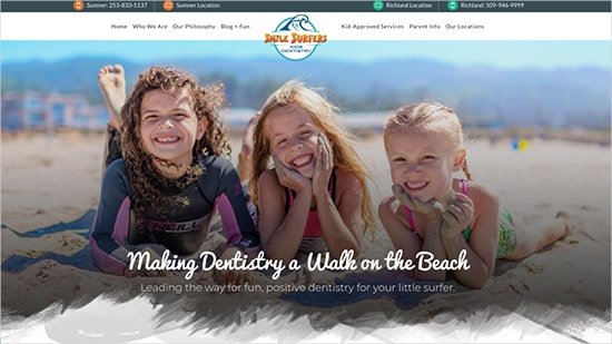 Preview image of Smile Surfers' new pediatric dentistry website