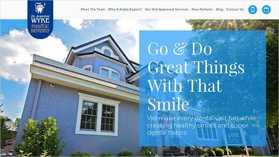 Jeannine E Wyke, DMD, PC homepage screenshot - a pediatric dentistry website