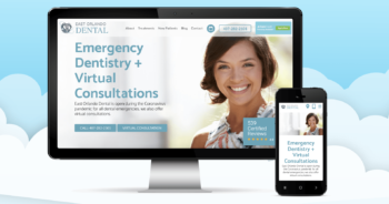 A dental website's homepage highlighting emergency dentistry and virtual consultations