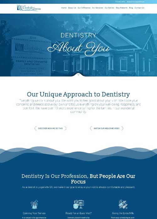 before new responsive website creekside dentistry