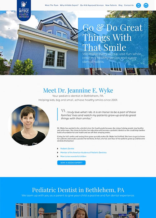 After shot of the Preview of Jeanine E Wyke DMD homepage
