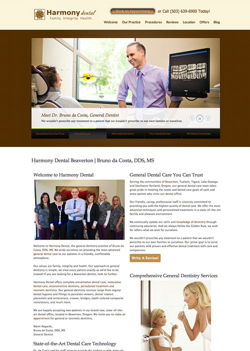 A webpage of Beaverton Dental Website Case Study before the new website build