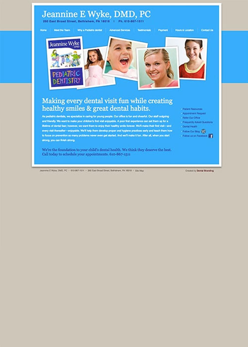 Before shot of the Preview of Jeanine E Wyke DMD homepage