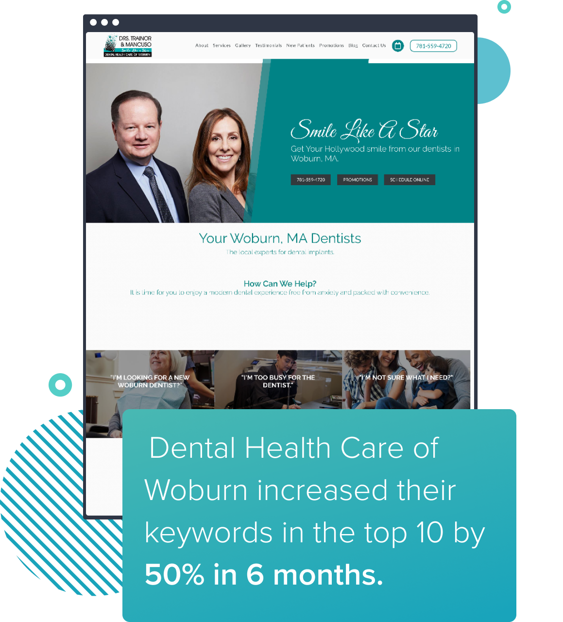 Preview of a website who increased their keywords in the top 10 by 50% in 6 months with dental SEO.