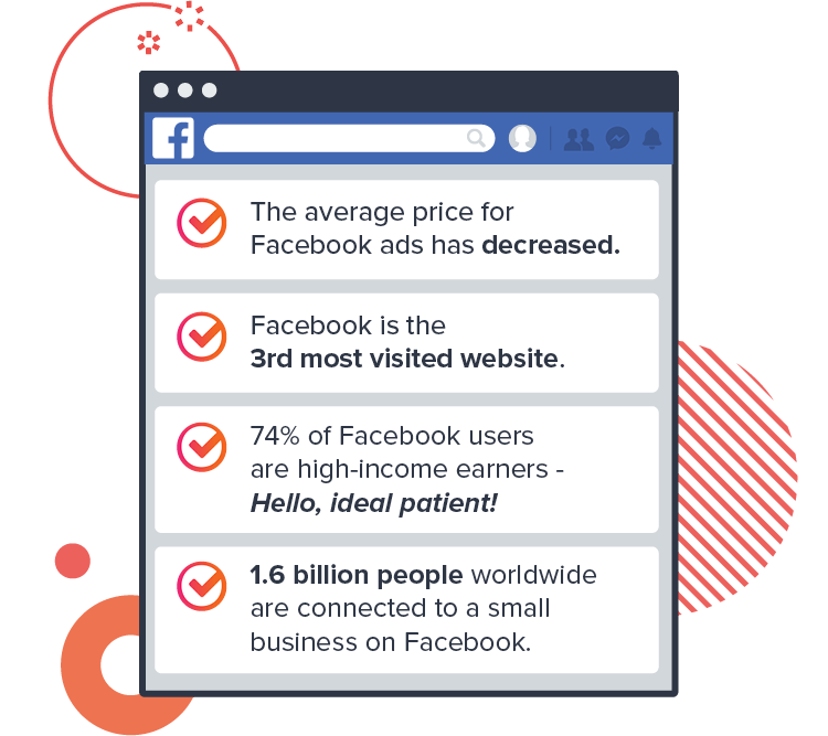 An example of a Facebook feed with various statistics
