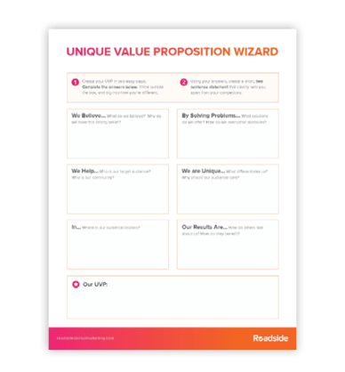 Preview image of Roadside's UVP Wizard, a PDF that instructs you how to develop unique value propositions for your dental office.