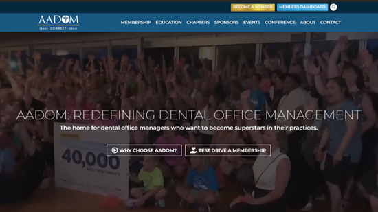 Preview image of AADOM (The American Association of Dental Office Management) responsive website