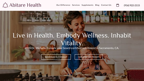 Preview image of Abitare Health's new responsive website.