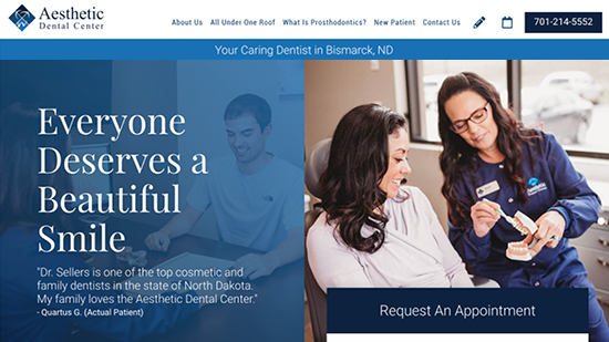 Preview image of Aesthetic Dental Center's new responsive dental website.