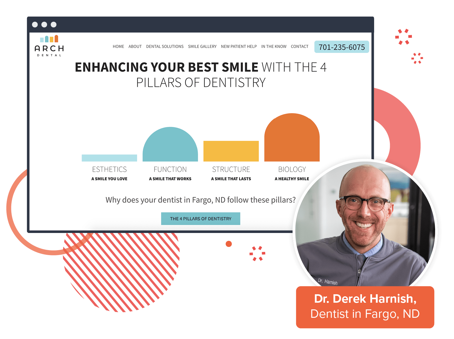 An example webpage from Arch Dental with the doctor's face in the corner