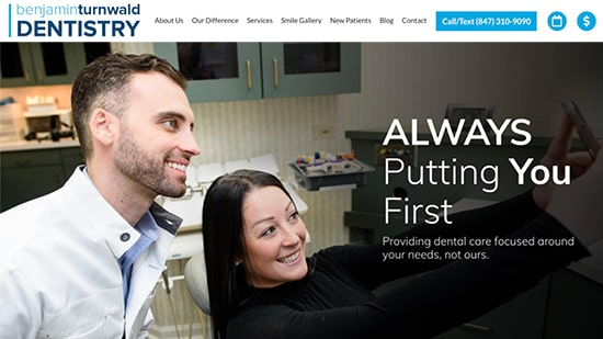 Preview of Dr. Turnwald's dental website homepage: A New Dental Practice Case Study