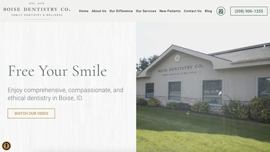 Preview image of Boise Dentistry Co's new responsive dental website.