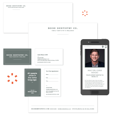 Examples of the branding materials created for Boise Dentistry Co. by our team at Roadside