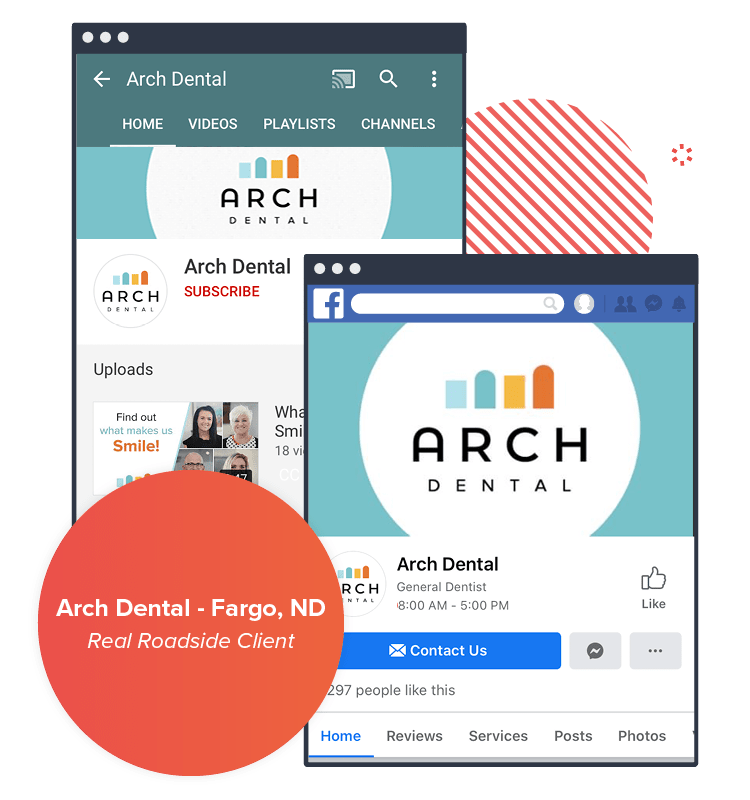Examples of our branding package for Arch Dental - shown on a desktop and mobile