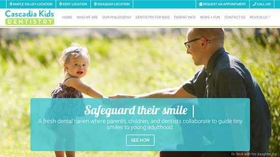 Preview image of Cascadia Kids Dentistry's new responsive dental website.