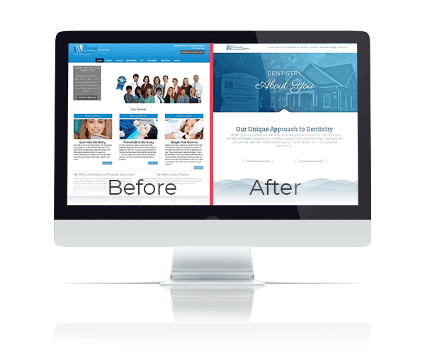 A before and after example of a website from our portfolio on a desktop screen