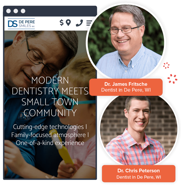 Before and after images of De Pere Smiles SC website