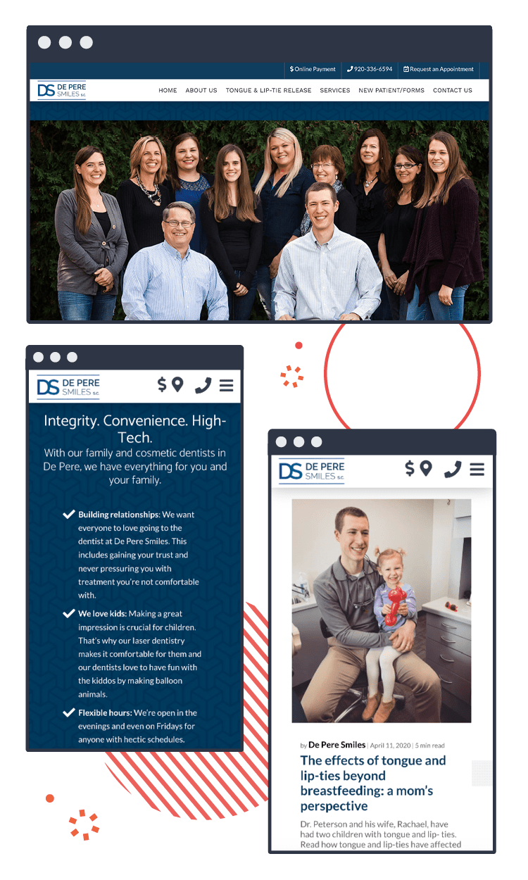 Example of the De Pere Dental Website Case Study on various devices