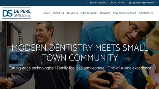 Preview image of DePere Smile's new responsive dental website.