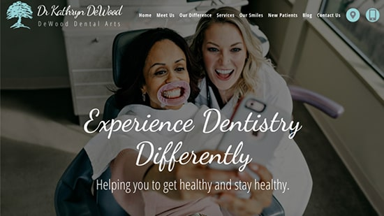 Preview image of DeWood Dental Arts' new responsive dental website.