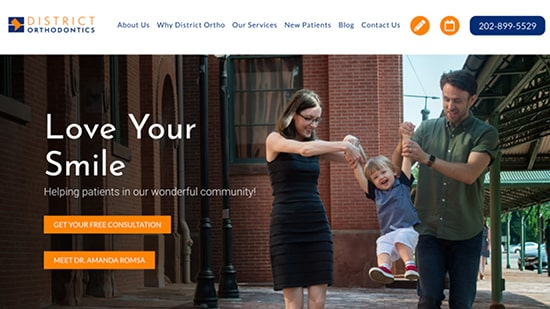 Preview of District Orthodontics home page created by Roadside Dental Marketing