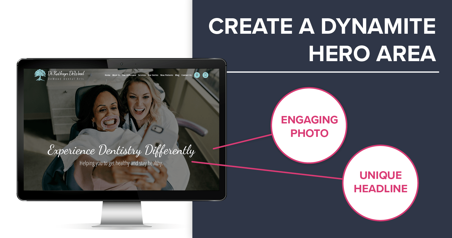Create a dynamite hero on your dental website with an engaging photo and unique headline