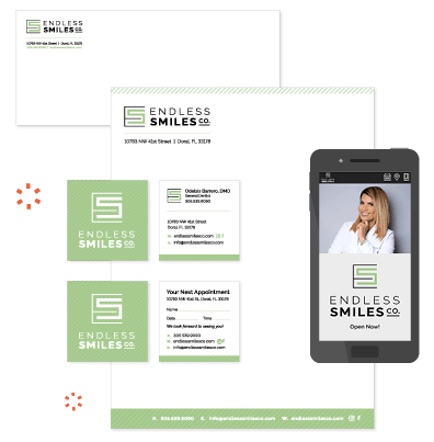 The printwork and website for Endless Smiles; one of our dental branding services clients