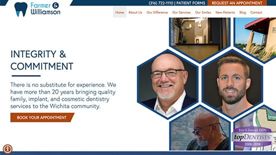 Preview image of Farmer & Williamson's new responsive dental website.