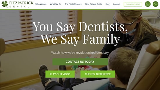 Preview image of Fitzpatrick Dentals's new responsive dental website.