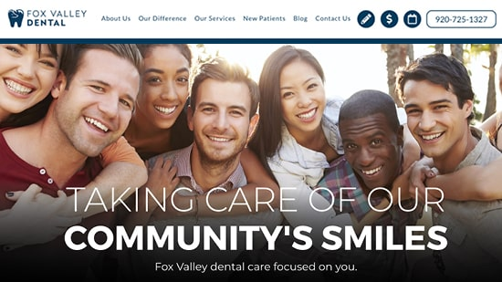Preview image of Fox Valley Dental's new responsive dental website.