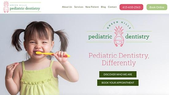 Green Hills Pediatric Dentistry's homepage screenshot - a pediatric dentistry website