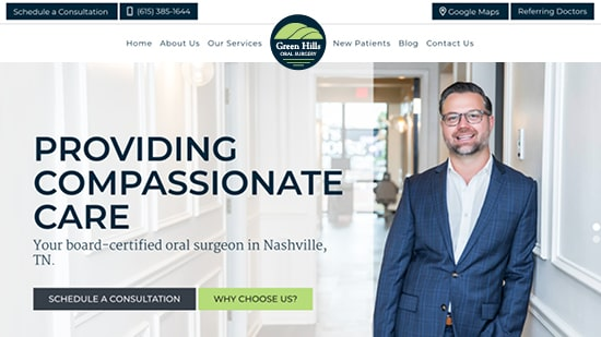 Preview image of Green Hills Oral Surgery's new responsive oral surgery website.