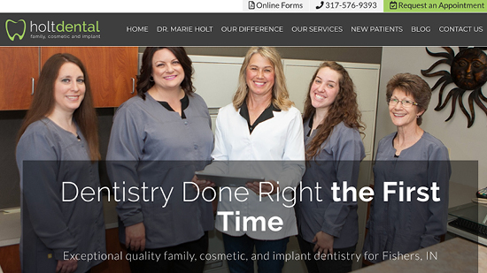 Preview image of Holt Dental's new responsive dental website.